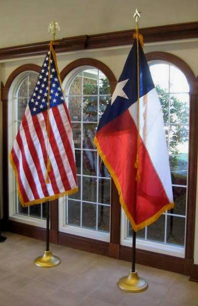 Texas flag set with floor stand